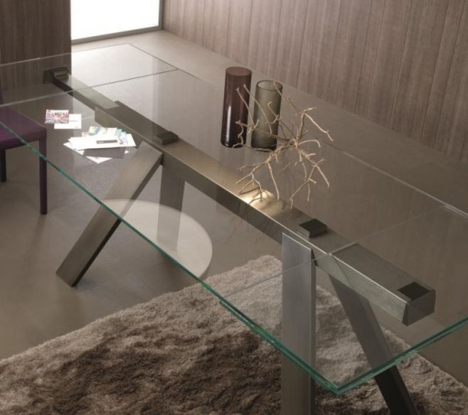 Contemporary, extendable clear glass, rectangular top dining table with bronzed slanted legs