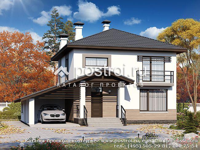 Двухэтажный дом с гаражом, проект коттеджа из газобетонных блоков или кирпича № T-134-1P