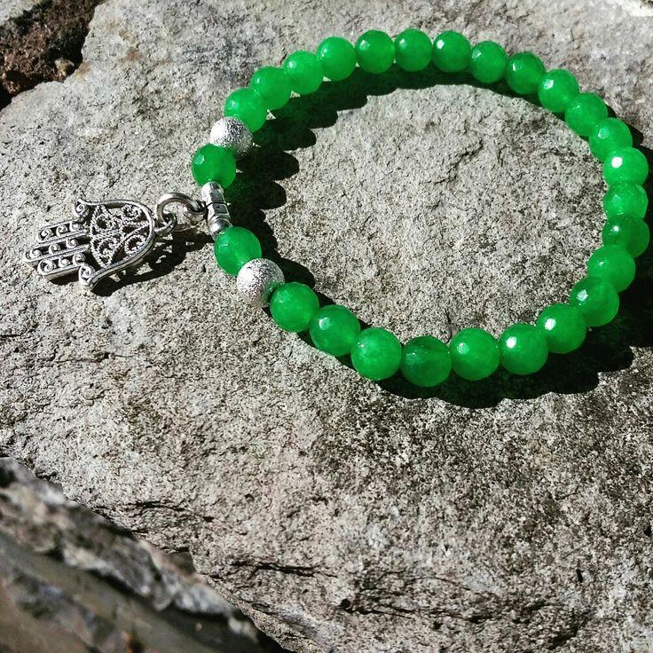 Green Jade and Hamsa Hand gemstone healing bracelet, Reiki/Yoga/Meditation Bracelet,Wrist Mala,Fourth Chakra/ Heart