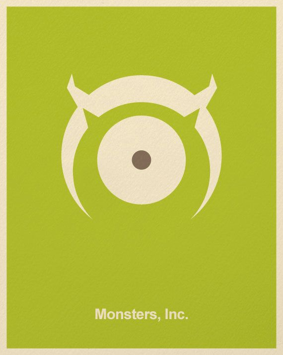 Minimalist Pixar Posters from Posterinspired - Monsters, Inc.