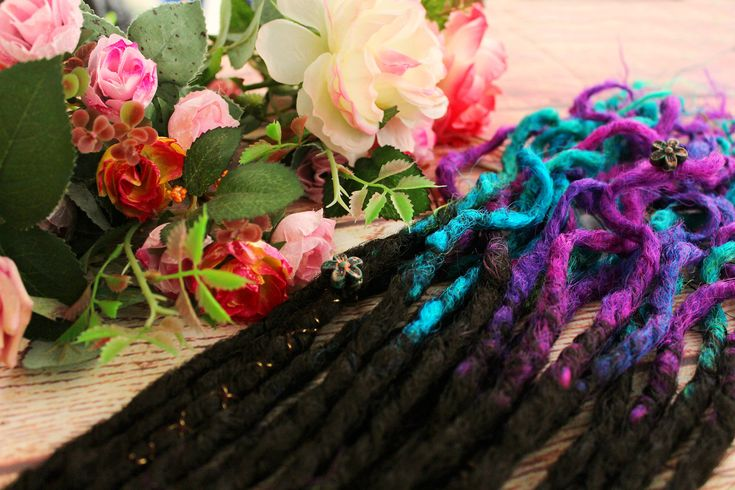"Excited to share the latest addition to my #etsy shop: Double Ended Synthetic Dreads Extension Crochet Black Turquoise Blue Purple ""The Far Galaxy Set"" Afromod"
