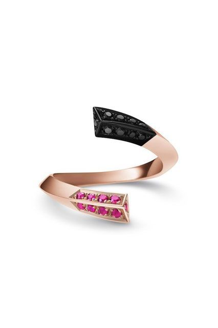 rose gold rubies black diamonds Selin Kent Eva Pave Ring, $975, available at Selin Kent.