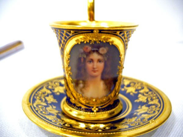 Royal Vienna portrait cup and saucer signed Wagner
