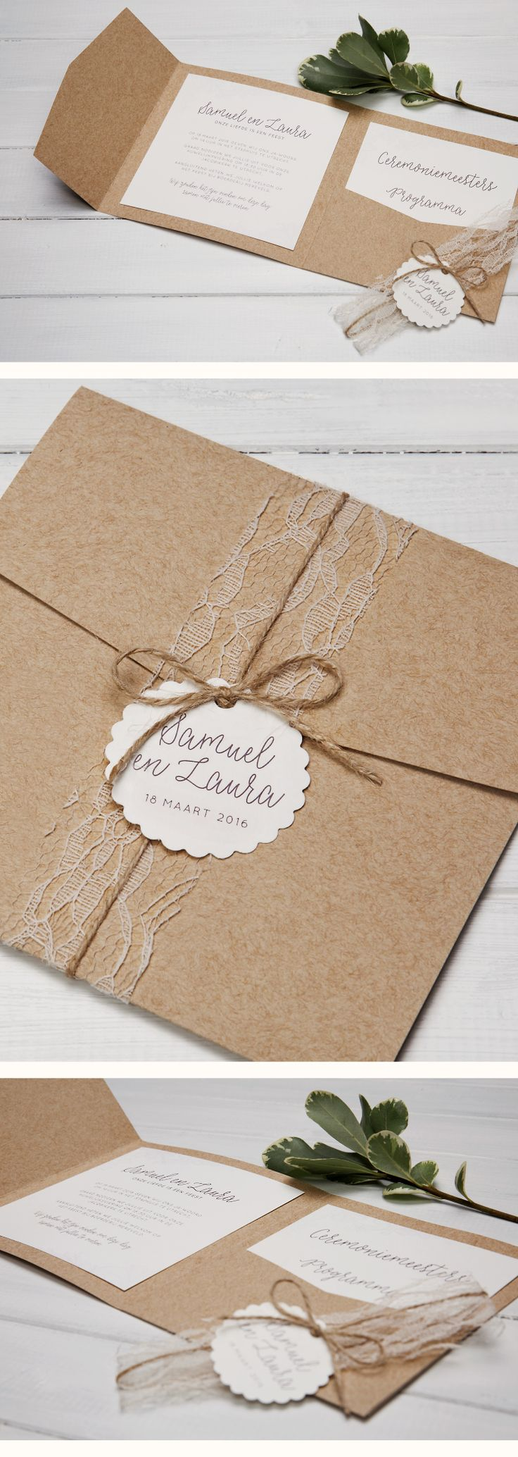 Beautiful kraft pocketfolds combined with ivory lace, ribbon and name tags. A stunning rustic inspired weddinginvitation set.