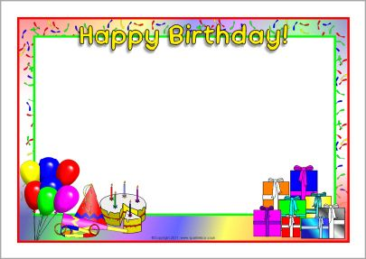 Happy Birthday A4 page borders (SB4931) - SparkleBox