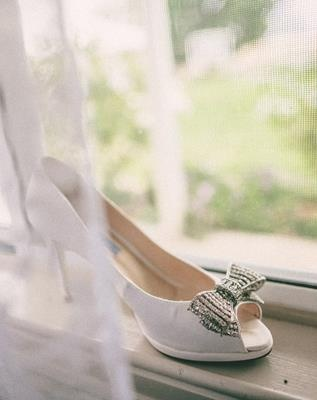 open toed, jeweled wedding shoes