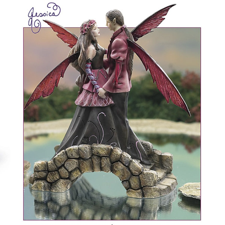 Hand-numbered limited edition! Romance isn't exclusive to the Mortal Realm: Faeries fall in love. Artist Jessica Galbreth's original painting comes to life in this casting of handpainted resin: an ideal wedding-cake topper! Felt-dotted base. Can you feel the love tonight!
