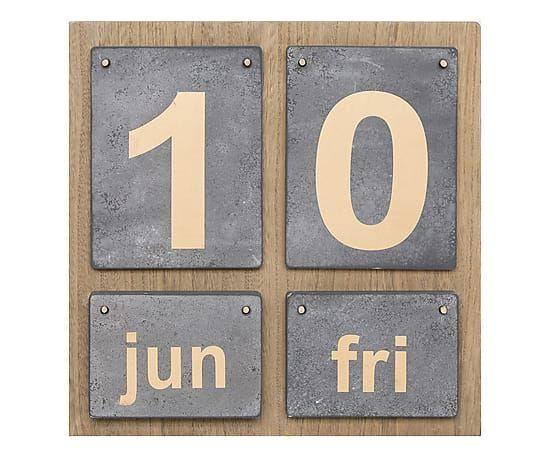 Calendario perpetuo in legno e metallo Vintage naturale/grigio, 34x25x3 cm