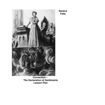 Lesson plan for high school students on the Seneca Falls Convention -- Declaration of Sentiments.  In this lesson, students read and analyze the text of the Declaration of Sentiments, the document produced at the Seneca Falls Convention. Text handout and text analysis worksheet included; just photocopy and teach. #womenshistory #womensrights