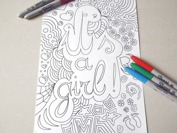 coloring it's a girl baby shower card newborn by LaSoffittaDiSte
