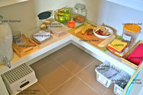 Creating a Montessori Kitchen for your child; not so sure about the cutting board and a couple other things but otherwise this is cool
