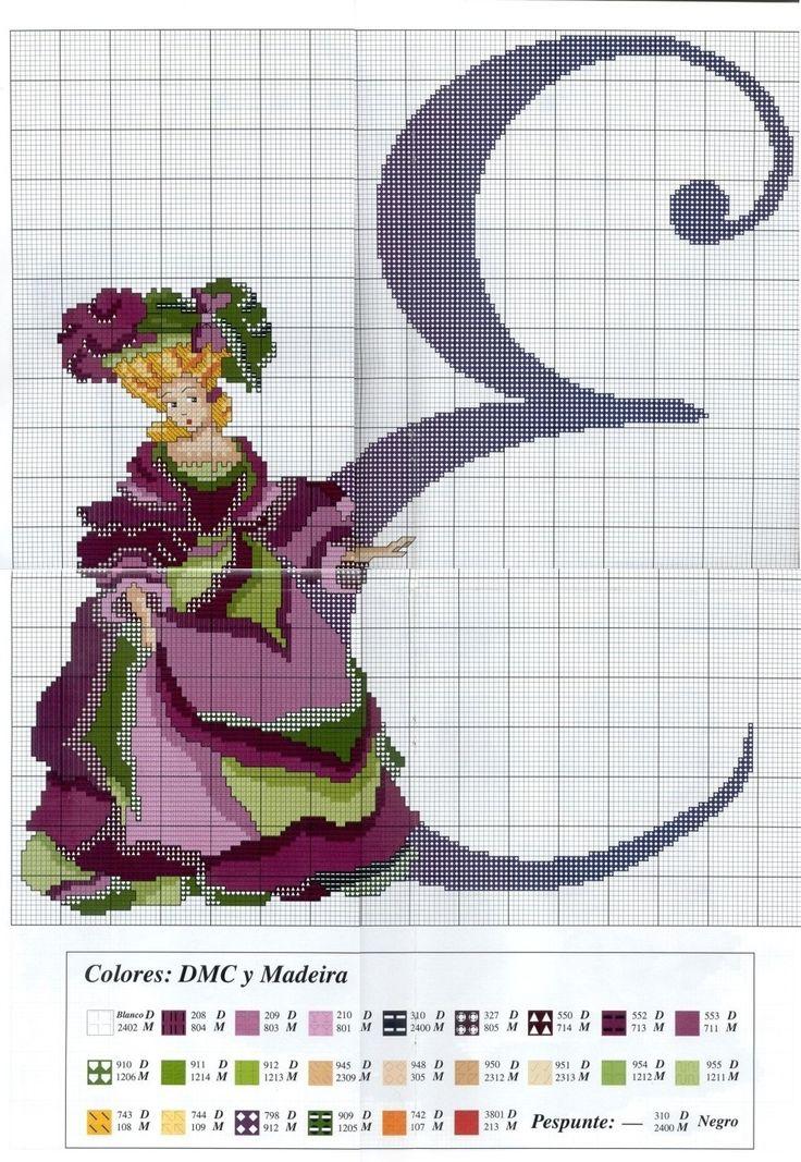 0 point de croix femme et lettre e cross stitch lady and letter e elegant ladies pinterest. Black Bedroom Furniture Sets. Home Design Ideas