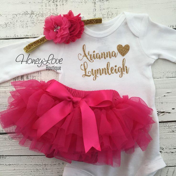PERSONALIZED SET gold glitter bodysuit, hot pink ruffle tutu skirt bloomers, flower headband, newborn baby girl take home hospital outfit - HoneyLoveBoutique
