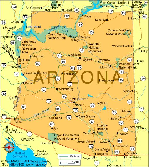 Map of Arizona which became the 48th state to join the union.  It became a state on February 14, 1912.  The capital is Phoenix.