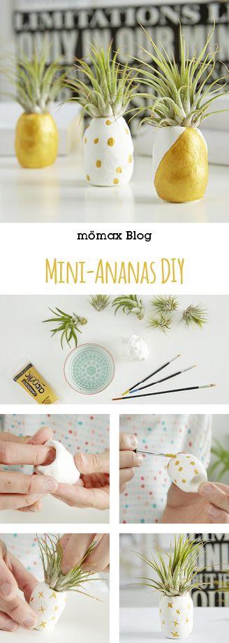 Mini-Ananas ganz einfach selber machen! Tolle Dekoidee! **Mit Fimo und Tillandsie**