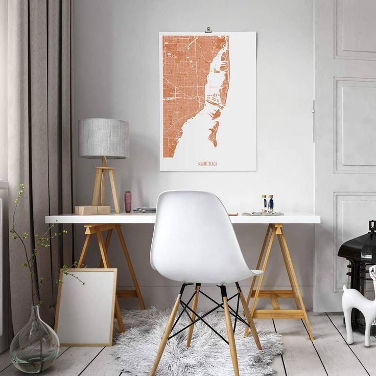 Copper is the perfect color for the sun tan from the beaches of Miami.    Make your own poster at:    Alvarcarto.com    #miami #interiordesign #poster #map #copper #design #beach #style #art #alvarcarto #home