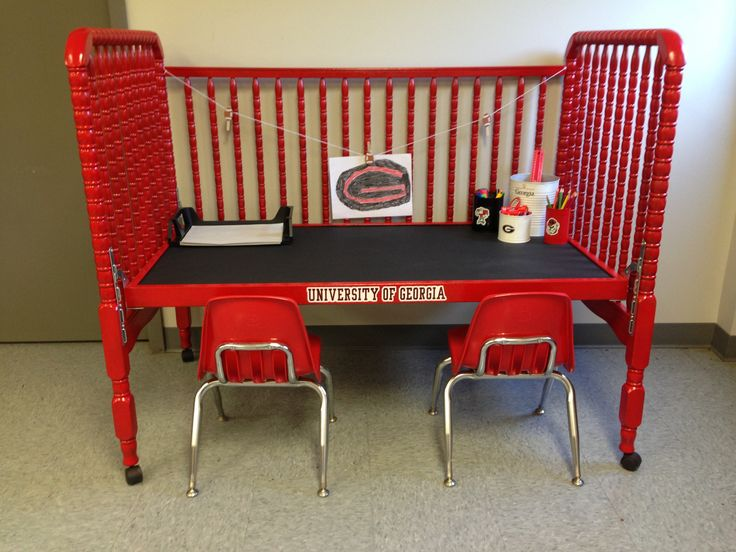 old baby bed turned into a desk love this idea i may need one for each kid crib rehab. Black Bedroom Furniture Sets. Home Design Ideas