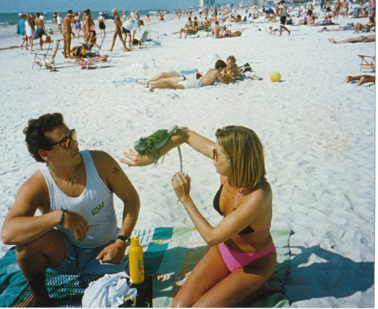 On the beach in Florida with a Green Iguana 1993