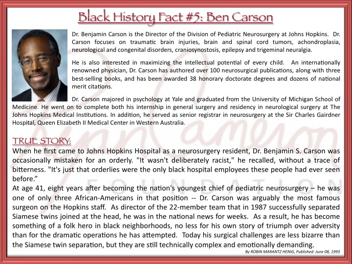 essay on ben carson Reading personal narrative essays:  autobiography:gifted hands by ben  carson  compare and contrast stylistic choices of richard peck and ben  carson.