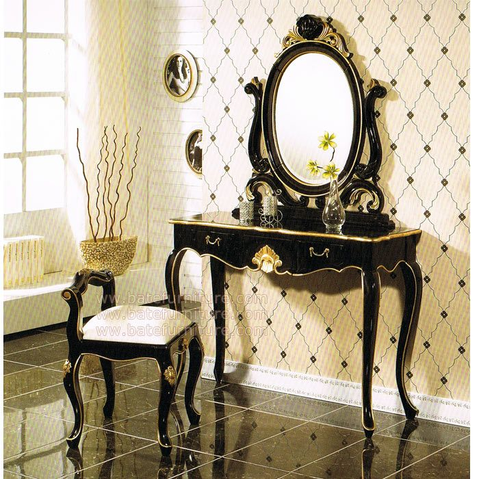 Black Gold Bedroom Vanity Set | French Furniture | Mahogany .