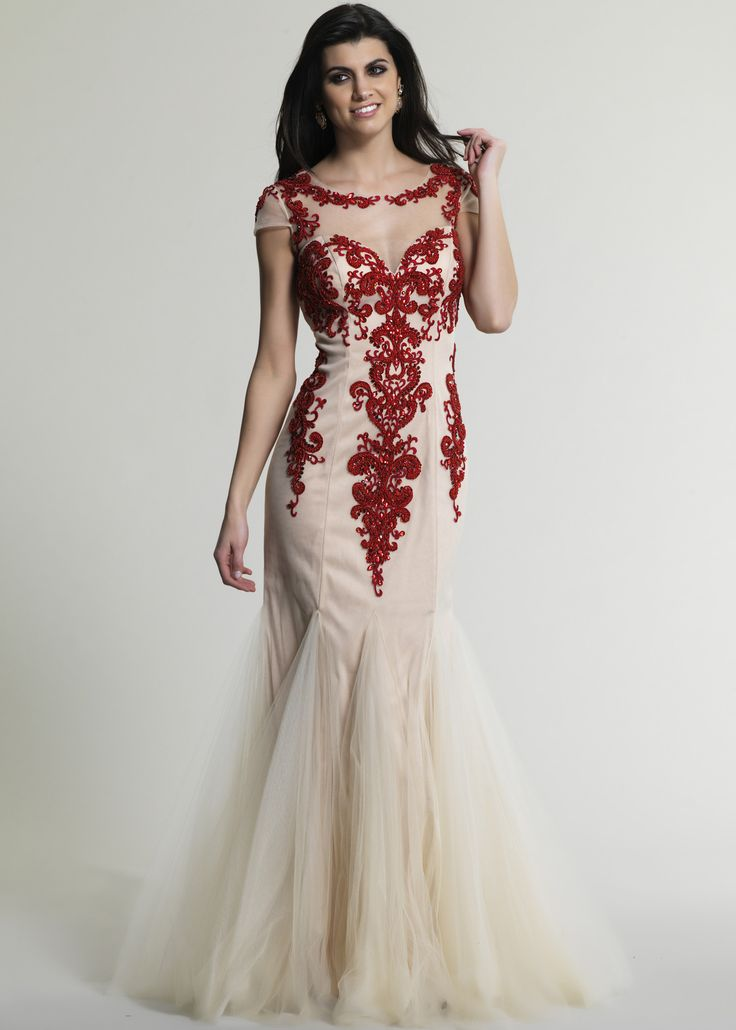 Dave & Johnny 226 Red/Ivory Embroidered Mermaid Prom Dresses Online