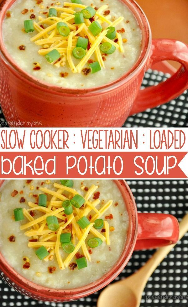 Let your slow cooker do all the work with this thick, creamy, vegetarian loaded baked potato soup! It's healthy, sketch-free and full of flavor!