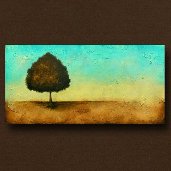 Contemporary Tree Painting Original Landscape Art by BrittsFineArt