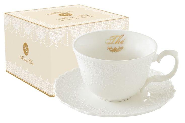 Чашка с блюдцем из фарфора «Белое кружево»      Бренд: Easy Life (Nuova R2S) (Италия);   Страна производства: Китай;   Материал: фарфор;   Коллекция: Белое кружево;   Объем чашки: 250 мл;          #tea #porcelain #фарфор #посуда #чай