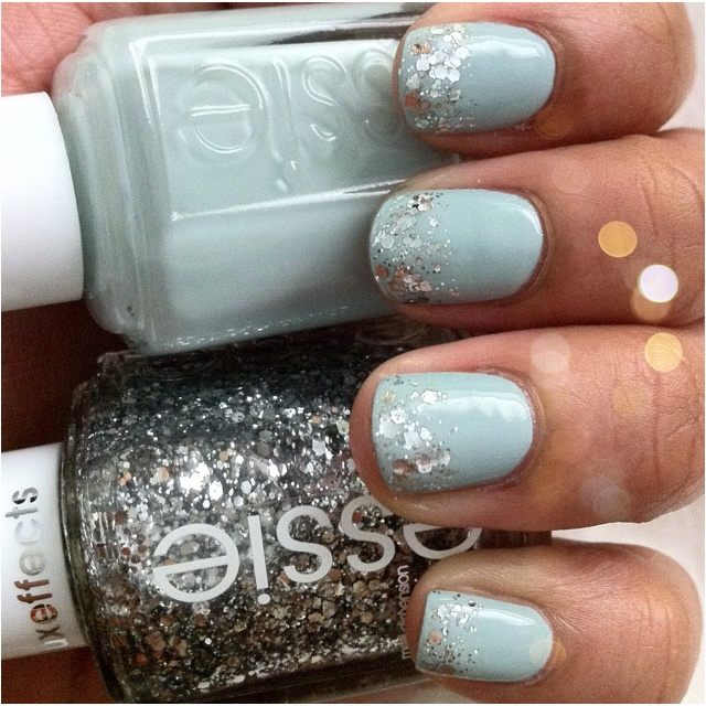 """Essie Wedding Collection 2012 """"Who is the Boss"""" with """"Set in Stones"""" from the Luxeffects Topcoat Glitter Collection Holiday 2011"""