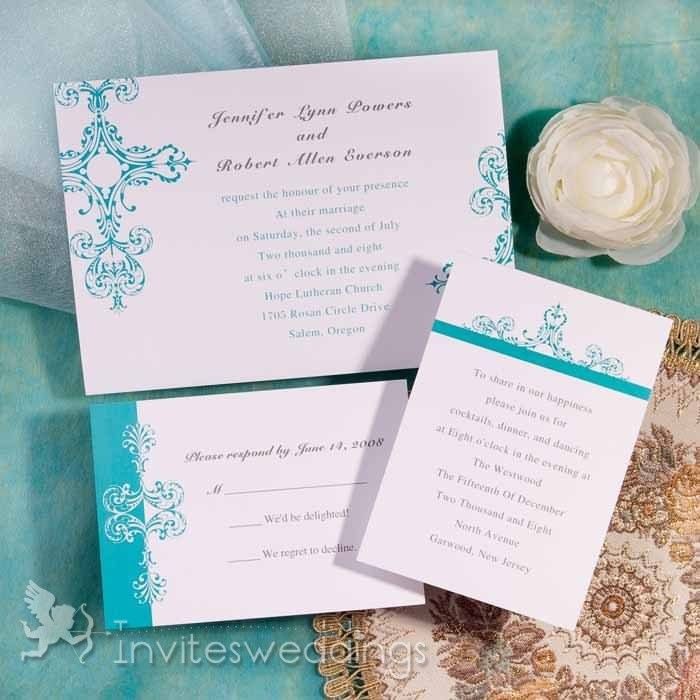Classic Blue Christian Wedding Invitations