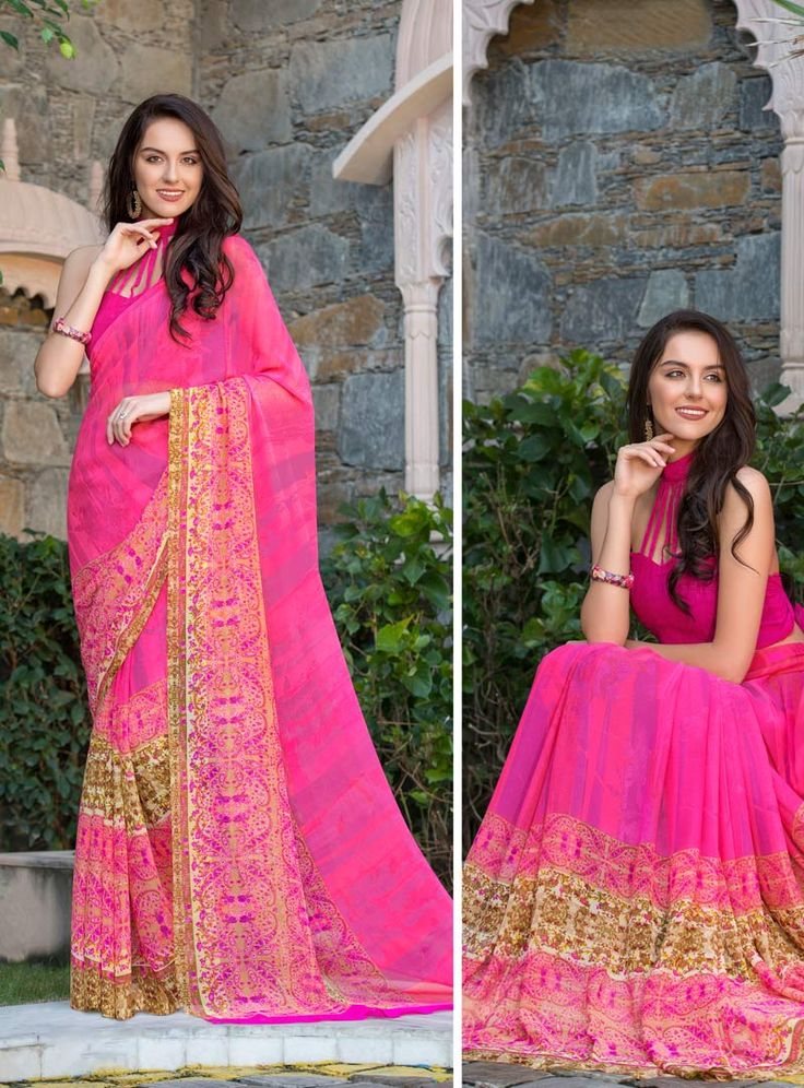 Pink Georgette Printed Saree With Blouse 80542