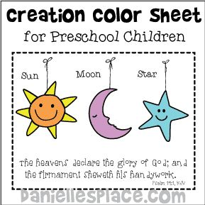 God Created the Sun Moon and Stars Coloring Sheet from www