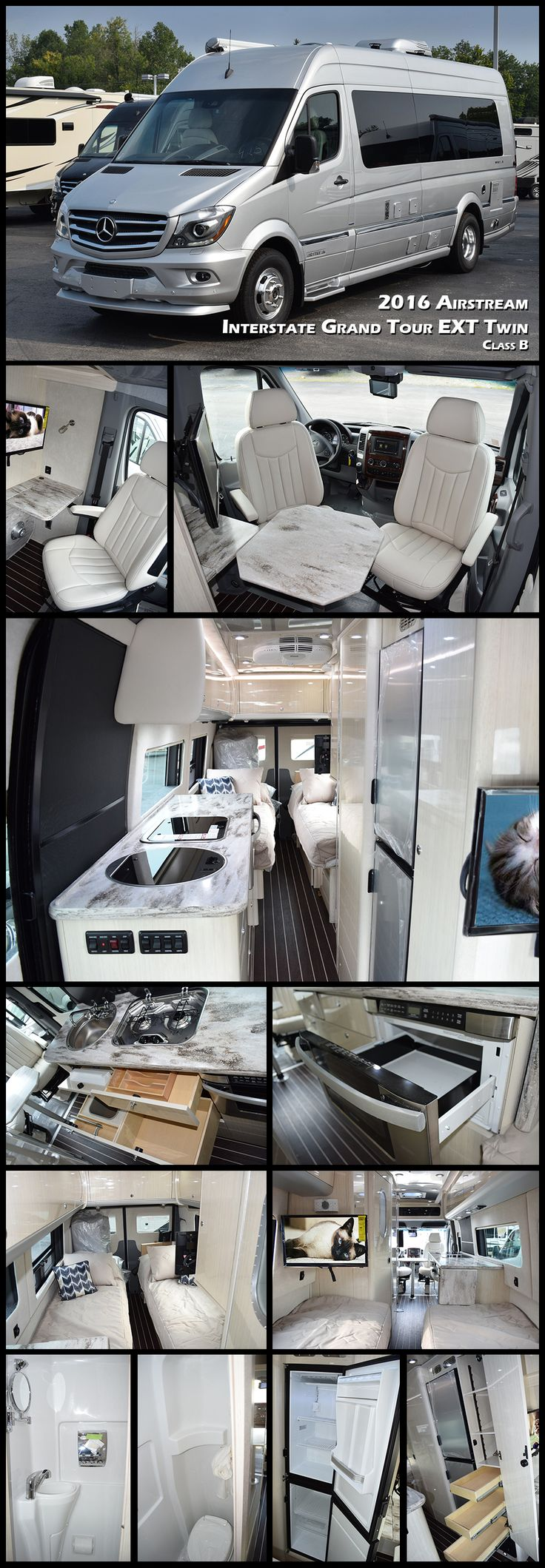 2016 AIRSTREAM INTERSTATE GRAND TOUR EXT TWIN Class B. Built with a focus on long-term adventures for two. This new floorplan offers a pair of twin beds. Both Grand Tour floorplans feature a larger ga