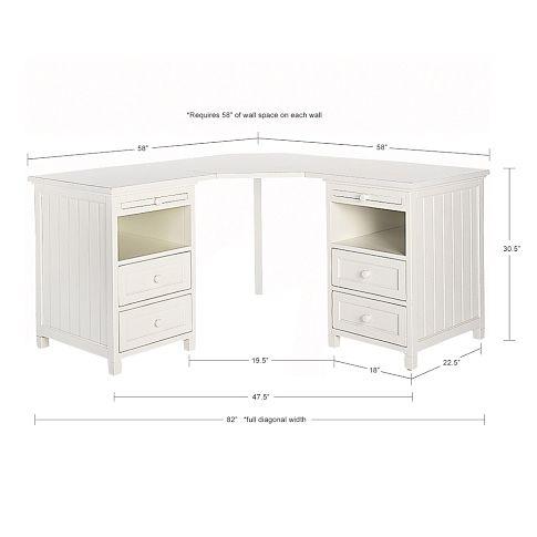 PB Teen Beadboard Basic Corner Desk Bigger Than The Other