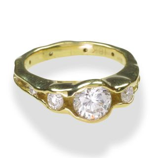 Sarah Graham Engagement Ring in yellow gold with diamonds from the Oyster Collection also available in white and rose gold.