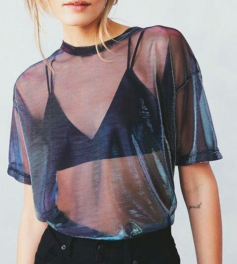 Best 20 sheer shirt outfits ideas on pinterest for Mesh shirt with bralette