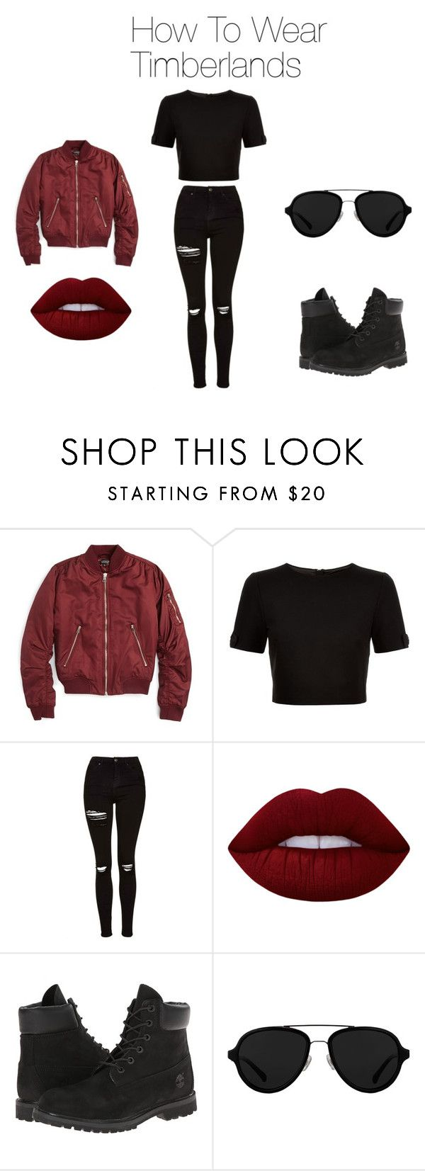 """How To Wear Timberlands"" by therealquelsi on Polyvore featuring Topshop, Ted Baker, Lime Crime, Timberland and 3.1 Phillip Lim"