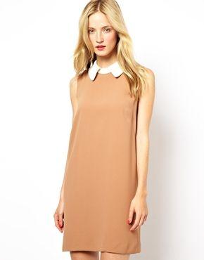 Mademoiselle Tara Crepe Shift Dress with Contrast Collar