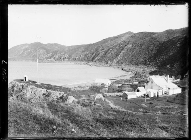 Pilot station and beach, Worser Bay, Wellington