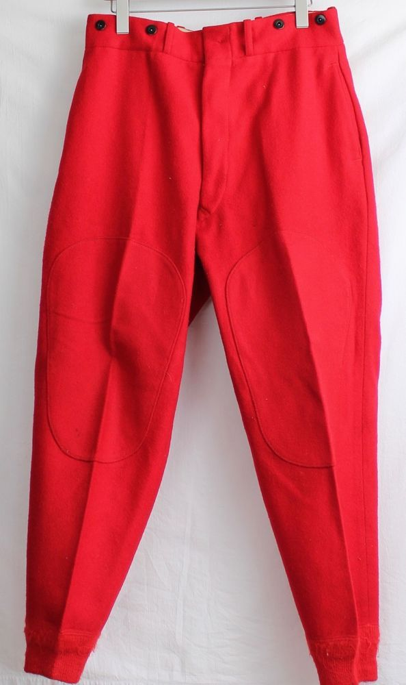 Vintage Woolrich Wool Hunting Pants Red Mens 34 x 30 Old Fashioned Style  #Woolrich #Hunting