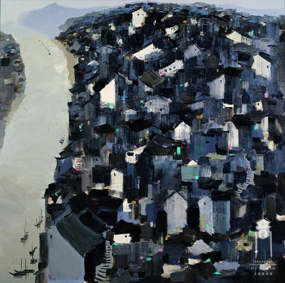 """Wu Guanzhong, """"Yangtze River Mountain City"""" in 2003  Author: Wu Guanzhong's: 2003 Size: 148 x 148cm"""