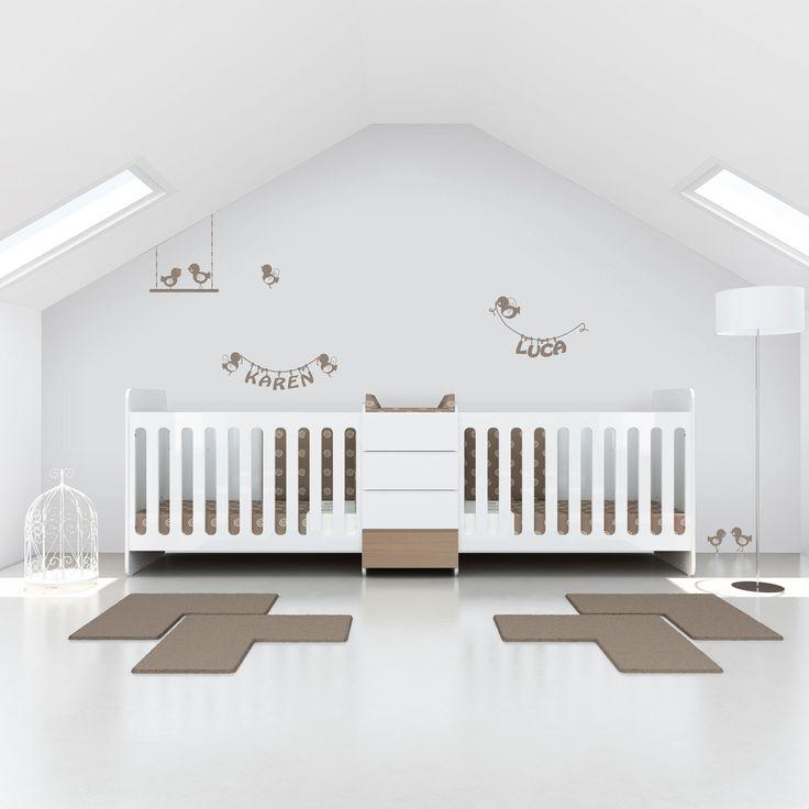 Cuna convertible en dos camas para bebés gemelos. El lugar donde nacen los sueños...