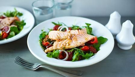 The smoky, paprika flavour of chorizo adds a spicy kick to this healthy salmon salad.