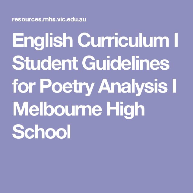English Curriculum I Student Guidelines for Poetry Analysis I Melbourne High School