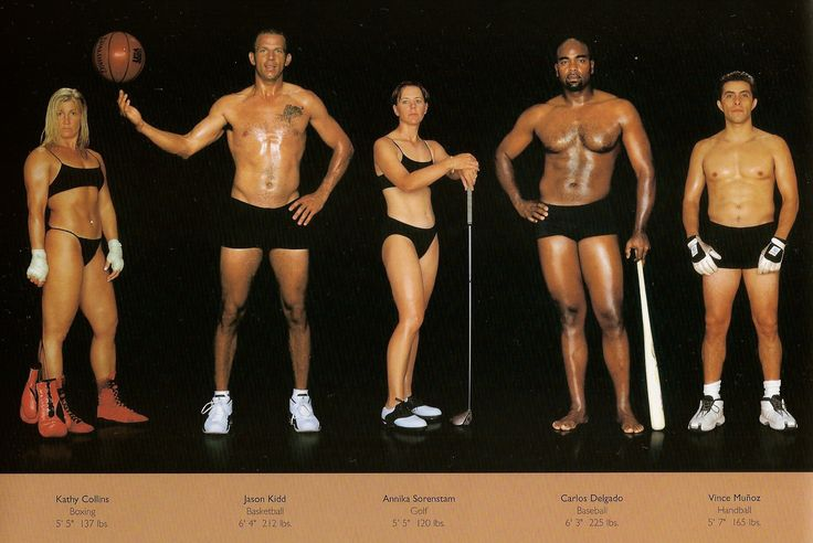 """This is a photoshoot of various Olympic-level athletes by Howard Schartz and Beverly Ornstein titled """"The Athlete"""".  This photoshoot shows that strong bodies come in all kinds of shapes and sizes and muscles show up in different ways. It also helps us keep in mind that not everyone who is fit is also lean. There's often a layer of fat over the muscles, making them less visible for some."""