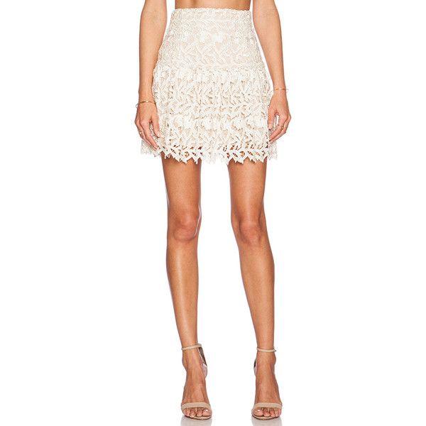 Alice + Olivia Jayce Drop Waist Skirt Skirts ($330) ❤ liked on Polyvore featuring skirts, alice olivia skirt, white lace skirt, white knee length skirt, knee length lace skirt и lacy skirt