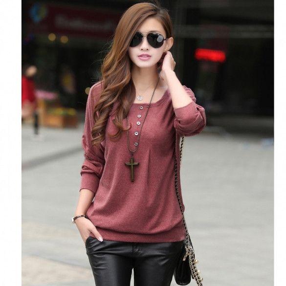 New Fashion Womens Batwing Sleeve Autumn Winter Shirt Warm Base Shirt