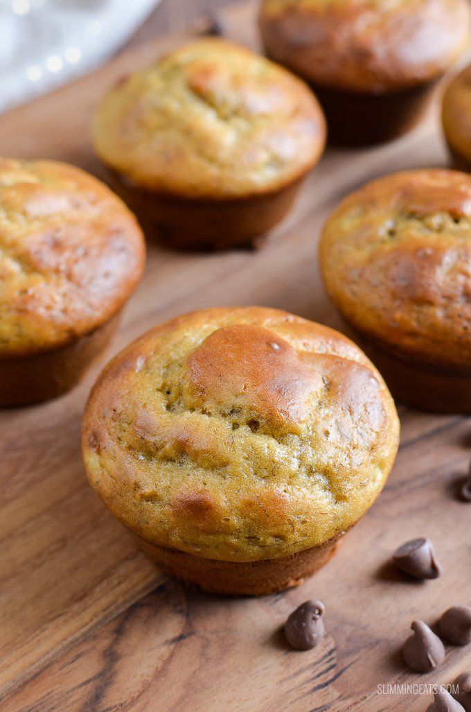 Make these delicious Low Syn Banana Chocolate Chip Muffins with that sad lonely over ripe banana sitting in the fruit bowl.