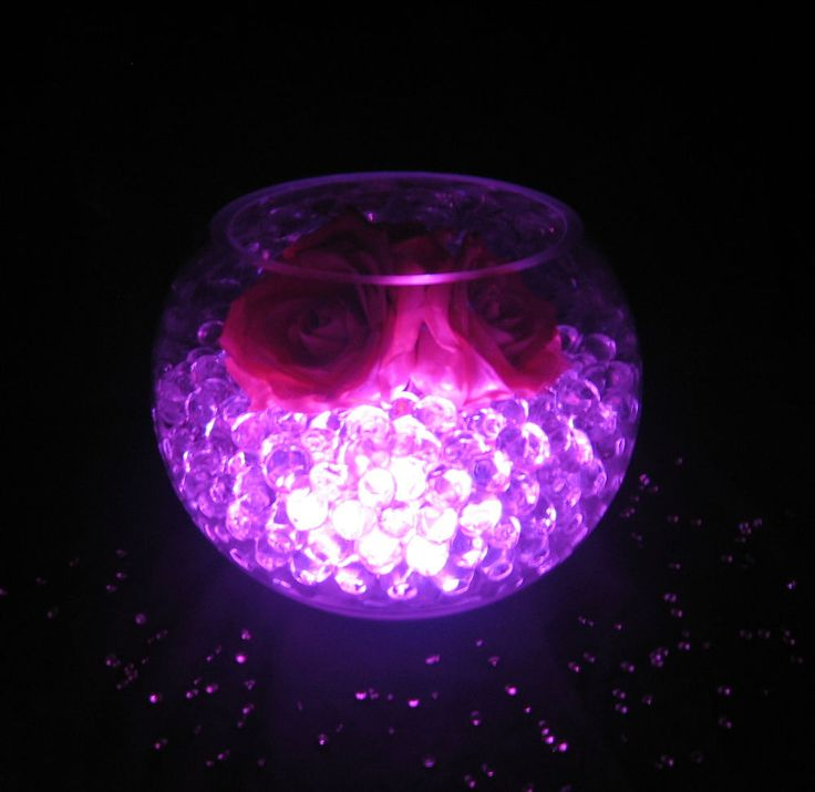Beautiful Glowing Wedding Table Decorations - LED Light with Aqua Vase Crystals