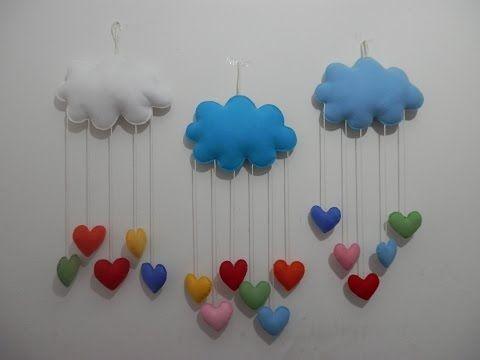 Mobile nuvem e corações em feltro - PAP - YouTube